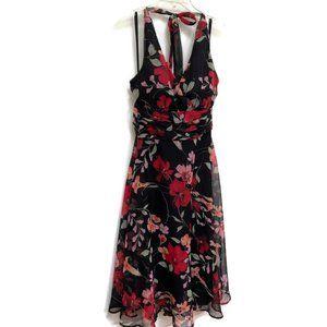 Connected Apparel Floral Halter Dress